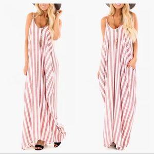 New!! Tessa Pink Striped Maxi Dress